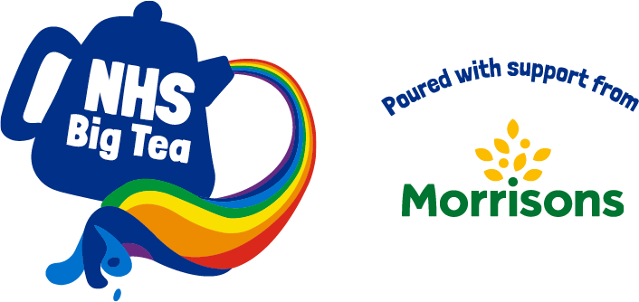 NHS Big Tea logo of a blue teapot with a rainbow pour