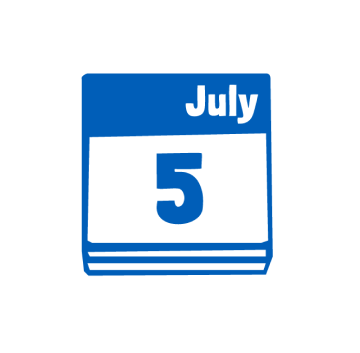 Blue icon of a calendar page of 5th July
