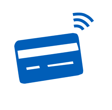 Blue icon of a bank card to pay in donations