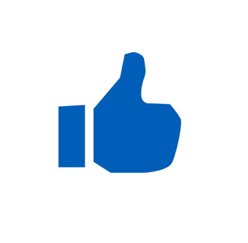 Blue sign-up icon of a thumbs up